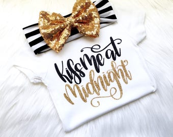 New Years outfit, Happy New year, babies first New Years, newborn outfit, girls New Years shirt, 2018 outfit, 1st New Years, holiday outfit