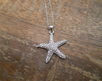 Rhinestone Starfish Necklace - Silver Starfish Necklace - Beach Wedding Necklace - Beach Wedding - Wedding Jewelry