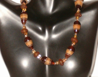 """Vintage Gold Tone 18"""" Bakelite/Plastic Amber Color String Wrapped Cone Shaped Bead With Amber Color Glass Spacer Necklace With Toggle Close"""