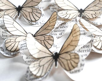 Beige paper butterflies, nature themed wedding, vintage wedding decor, girl baby shower decorations, butterfly wall decals for baby girl
