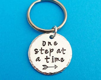 one step at a time, recovery keyring, recovery accessory, addiction recovery, inspirational keyring, encouragement keyring, alcohol recovery