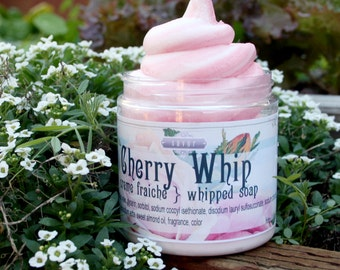 Soap Handmade Cherry Whip 8 oz Whipped Soap Creme Fraiche VEGAN