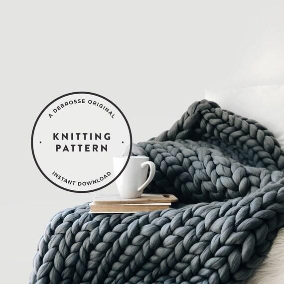 Knitting Pattern Extreme Mega Knit Blanket Afghan Throw The