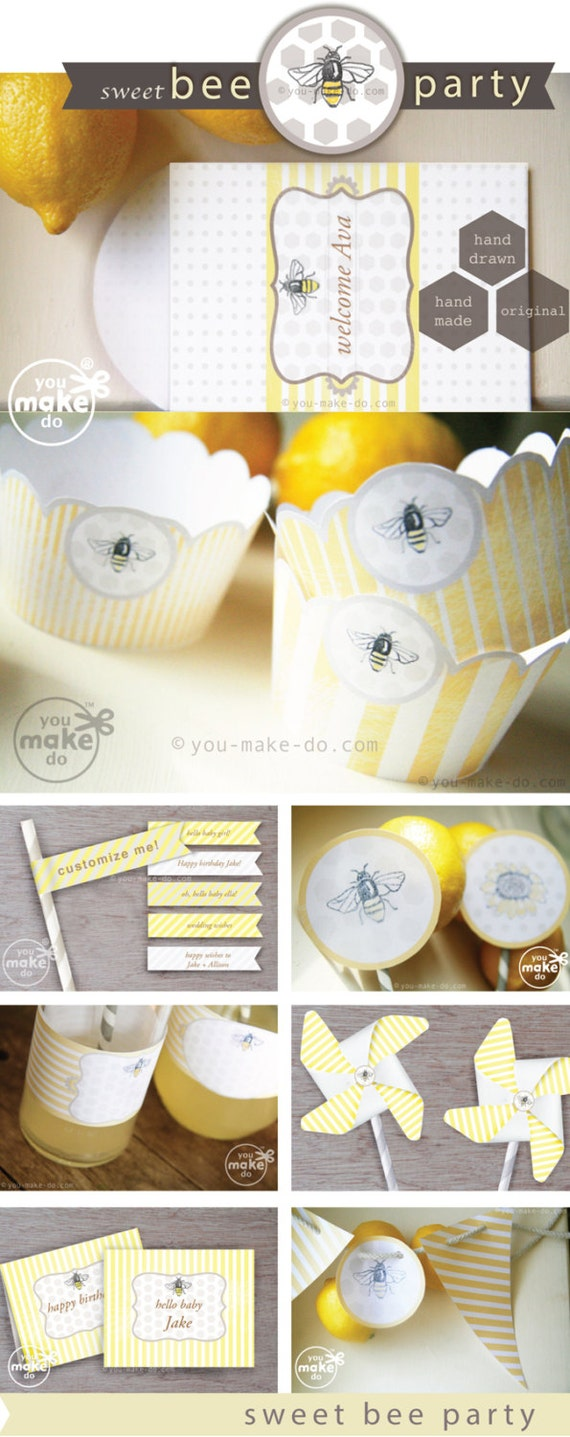 INSTANT DOWNLOAD bumble bee party decorations, baby bee shower, bee ...
