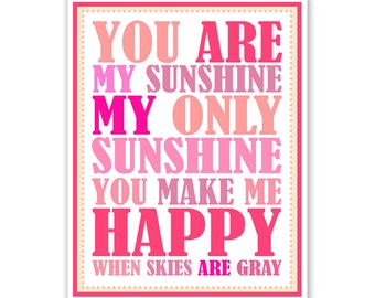 Children's Wall Art / Kids Nursery Decor You Are My Sunshine... print by Finny and Zook