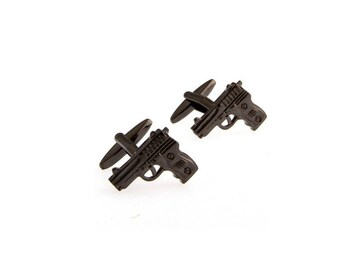 Handgun Black Tone CuffLinks - Best Gift For Dad - Groomsmen Cufflinks - Groomsmen Gifts - Gifts for Him -  Jewelry For Men