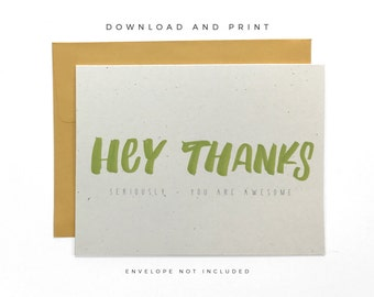 Printable Playful Thanks Card, Recycled Bright Thank You Card, Hand Lettered Thanks Card, Thank You Card