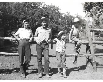 """Vintage Snapshot """"At The Dude Ranch"""" Cowboy Hat Boots Cowgirl Family Vacation Found Vernacular Photo"""