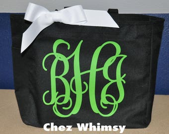 Personalized Tote Bag, Monogrammed Tote, Large Design Tote, Glitter Monogram, Bridesmaid Gift, Tote with Bow, Teacher Appreciation Gift