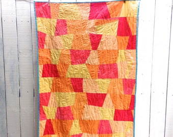 "Organic Sunset Tumblers Quilt - Hand Dyed Organic Cotton, 38"" x 56"" Crib Quilt with Daddy Rhino Backing"