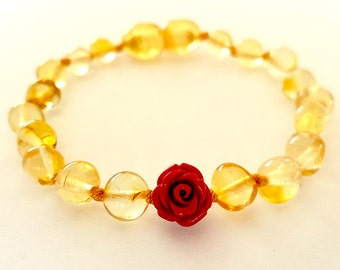 NATURAL BALTIC AMBER Baby Teething Bracelet or Anklet with Red Flower