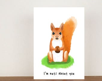 I'm nuts about you anniversary card, cards, greeting cards, love, valentines card, squirrel card, love card, anniversary
