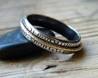 Spinner Ring, Tribal Design Spinning Meditation Ring, Fidget Ring in Sterling and Gold R170