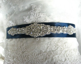 rhinestone bridal sash, crystal bridal sash, navy blue wedding sash, bridal belt, wedding belt, CHLOE rhinestone beaded bridal sash