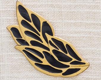 Black and Gold Leaf Brooch Vintage Enamel Leaves Broach Vtg Pin 7BZ