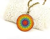 Mandala art Geometric Orange necklace Boho necklace Chakra pendant Chakra necklace Yoga jewelry Sun necklace Birthaday gift for women gift