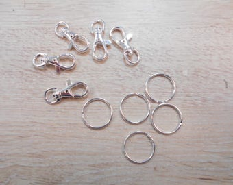 Double 5 clasps antique for key ring with silver lobster