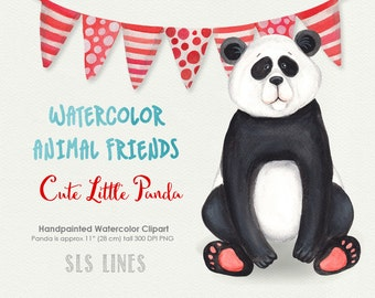 Cute Panda Bear watercolor clipart, red and blue, panda illustration, nursery graphics, shower clipart, animal clip art