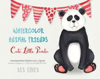 Cute Panda Bear watercolor clipart, red and blue, panda illustration, nursery graphics, shower clipart, animal clip art
