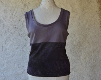 Grunge vest top purple mauve womens earthy hippie shirts organic rock punk witchy chakra tank hand dyed alternative ethical raw festival eco