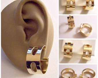 Oval Slotted Band Hoop Clip On Earrings Gold Tone Vintage Wide Polished Band Two Open Rings Large Dangles