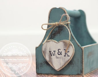 Rustic Wedding Flower Girl Basket Blue White Teal Antique Vintage Coutry Shabby Chic Wedding Flower Girl Gift