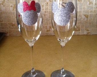 Minnie & Mickey Mr. Mrs. Champagne flutes