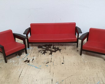Vintage Dollhouse sofa and chairs 1970's plastic