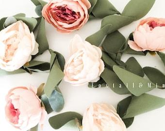 Peony Floral Garland // Peony Garland // Wedding Decor // Nursery Decor // Birthday Garland // Felt Flower Garland