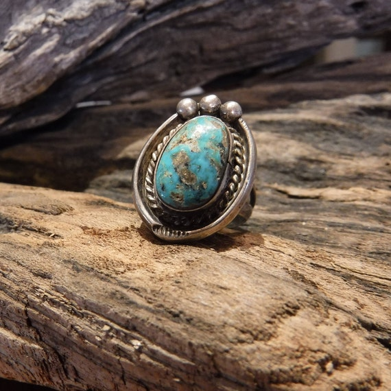 Navajo Native American Silver Turquoise Ring Weight 6.9 Grams Size 6.5 Turquoise Inlay Sterling Silver Ring Native American Sterling Rings