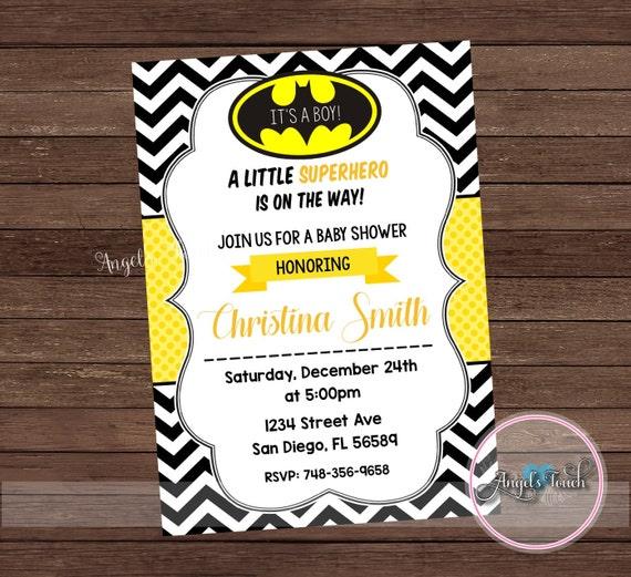 Super Hero Baby Shower Invitation Batman Baby Shower
