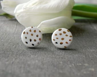 White Gold Boho Ceramic Earring Studs, Dotty White Porcelain Earrings, Small 18 karat Gold hand painted Studs, Surgical Steel Post