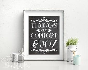 """8x10 and 11x14 Christmas Holiday """"Tidings of Comfort and Joy"""" Digital Prints Subway Art 28 word art printable"""