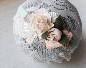 Eleanor - Mint Blush Pink Cream Peach Lace Headband -  Vintage - Flowers - Girls Newborns Baby Infant Adults