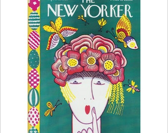 """Vintage The New Yorker Magazine Cover Poster Print Art, 1927 Matted to 11"""" x 14"""", Item 4045, Butterflies"""