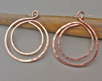 Big Copper Hoop Earrings, Double Hammered Hoops, Big Hoops, Copper Jewelry, Big Hoop Earrings, Copper Earrings, Gift for Her, Wife, Women,