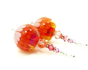 Orange Earrings, Lampwork Earrings, Lotus Flower Earrings, Glass Earrings, Glass Bead Earrings, Colorful Earrings, Glass Bead Jewelry