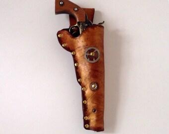 Steampunk Leather Holster Pistol Metal Gun Revolver Cosplay on sale