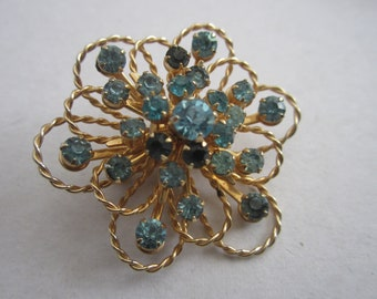 Vintage Coro Flower Brooch Pin Blue Topaz Color