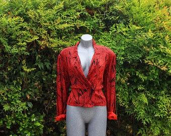 Womens Vintage Blouse Blazer, Orange & Black Blossom Rosen, 1980s 1990s, Made in the USA, Size Large
