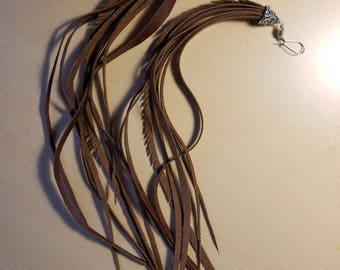 Long Leather Feather Earrings