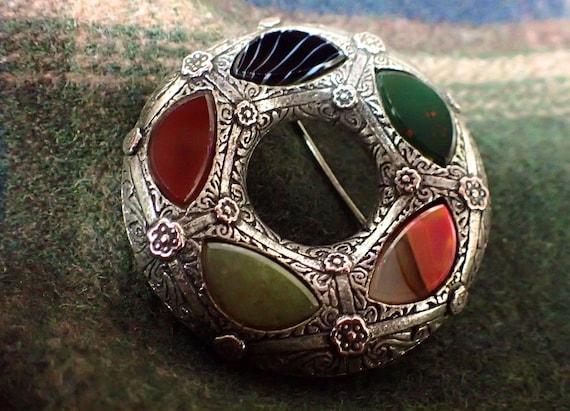 Celtic Brooch Scottish Brooch Vintage Brooch Pewter Brooch