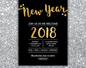 New Year's Eve Party, 2017/2018 Invitation, Christmas, Glitz Glamour party, Glitter Black Gold, Birthday Party