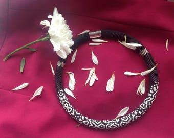 "Bead Crochet Necklace ""Monochrome"" handmade beaded style for her"