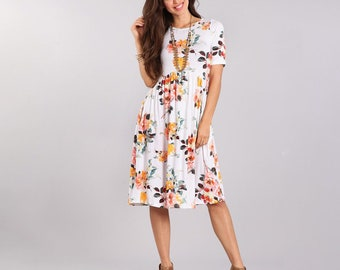 Floral wedding dress etsy floral dress with pockets s 3x womens clothing womens dress floral junglespirit Image collections