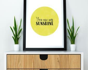Printable You Are My Sunshine Vintage Summer Yellow Wall Art