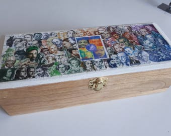 Box decorated with a mosaic of stamps wood post