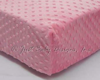 Fitted Crib Sheet - Minky Dot Medium Pink