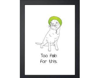 Chihuahua Wearing Sun Visor 8.5x11 Art Print, Wall Decor, Wall art, Funny Dog Art, Drawing Prints