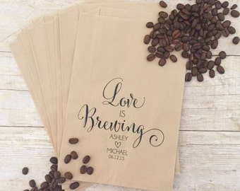 Love is Brewing, Coffee Wedding Favors, Coffee Favors, Coffee Bridal Shower, Personalized Wedding Favors, Favor Bags, Treat Bags